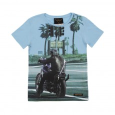 T-shirt Blue Bike Bleu