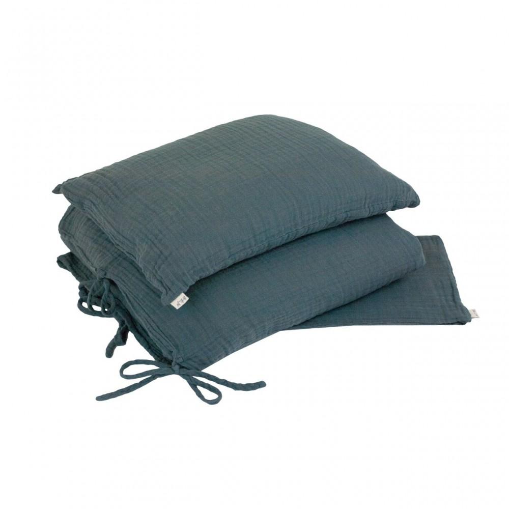 parure de lit bleu gris numero 74 univers b b smallable. Black Bedroom Furniture Sets. Home Design Ideas