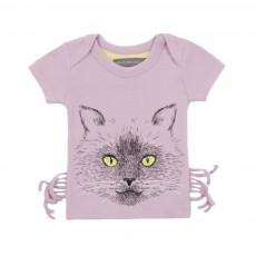 T-shirt Chat Moustaches Bébé Mauve