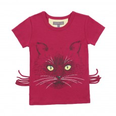 T-shirt Chat Moustaches Prune