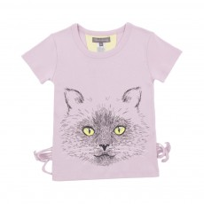 T-shirt Chat Moustaches Mauve
