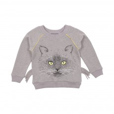 Sweat Lurex Chat Moustaches Gris chiné