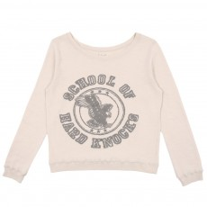 Sweat en Jersey Double Imprimé School Ecru