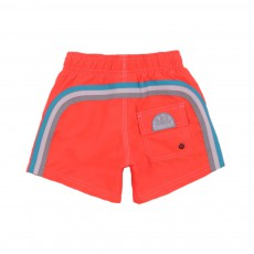 Short De Bain Bande Tricolore Orange