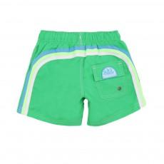 Short De Bain Bande Tricolore Vert