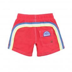 Short De Bain Bande Tricolore Rouge