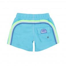 Short De Bain Bande Tricolore Bleu turquoise