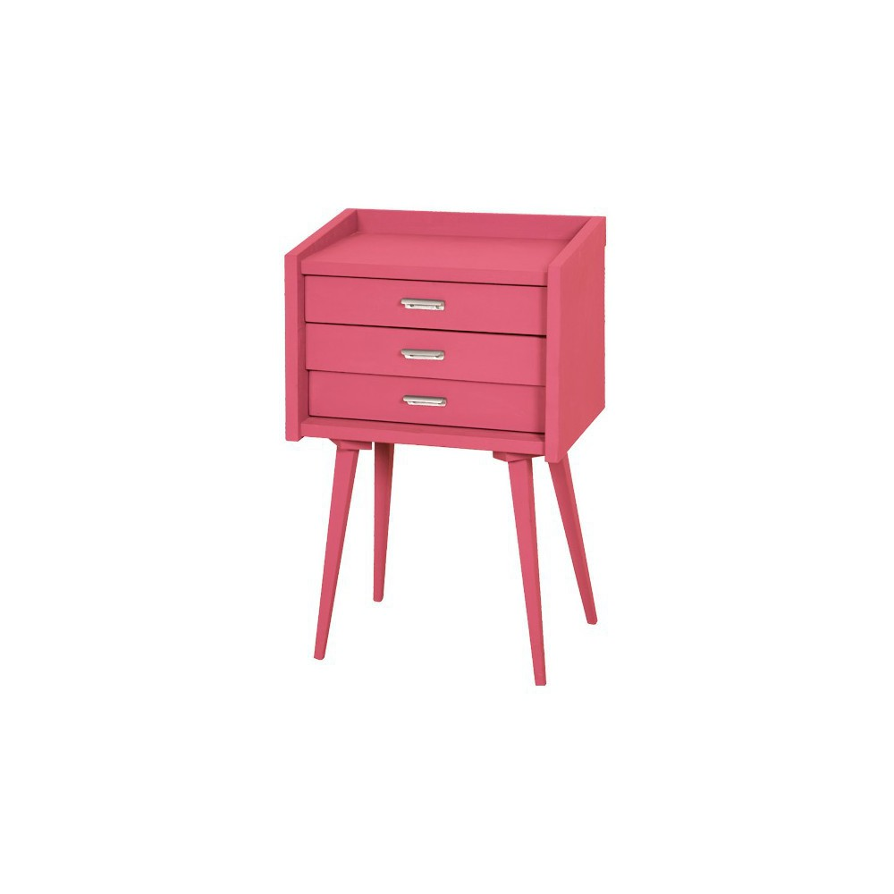 Table de chevet des secrets rose bonbon laurette mobilier smallable - Table de chevet rose ...