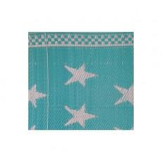 Natte plastique étoiles - Bleu turquoise et blanc