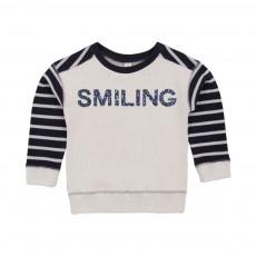 Sweat Bicolore Smiling Moly Ecru