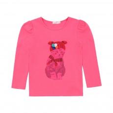 T-shirt Imprimé Chat Rose fuschia