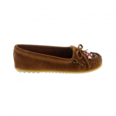 Mocassins suede oiseau perles marron le fait main for Oiseau marron