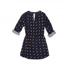 Robe Imprimée Fleurs Claudia Bleu marine
