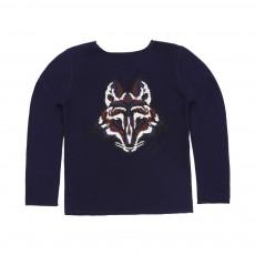 Pull Broderie Loup Celso Bleu nuit
