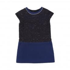Robe Tweed Passepoil Doré Bleu nuit