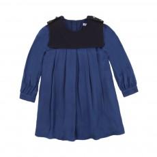 Robe Plissée Twill Bleu nuit