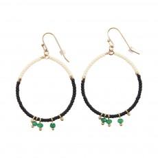 Boucles d'Oreilles Rondes Perles Cadix Noir