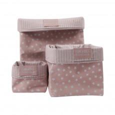 Boîte de rangement Vieux rose - Etoiles argent