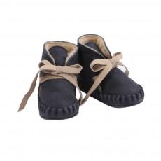 Chaussons Cuir Fourrés Pina Shoes Lining Bleu marine