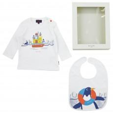 Ensemble T-shirt Bavoir Bébé Blanc