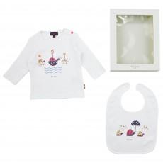 Ensemble T-shirt Bavoir Escargots Blanc