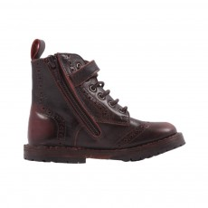 Bottines Zip Bout Fleuri Bordeaux