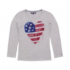 T-shirt jersey Bio Flag Heart Gris clair