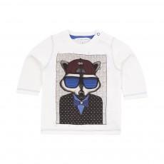 T-shirt Raton Laveur Lunettes Ecru