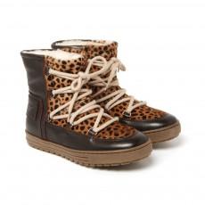 Boots Fourrées Léopard Marron