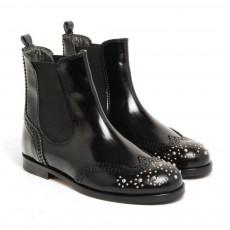 Boots Cuir Elastique Bout Fleuri Noir