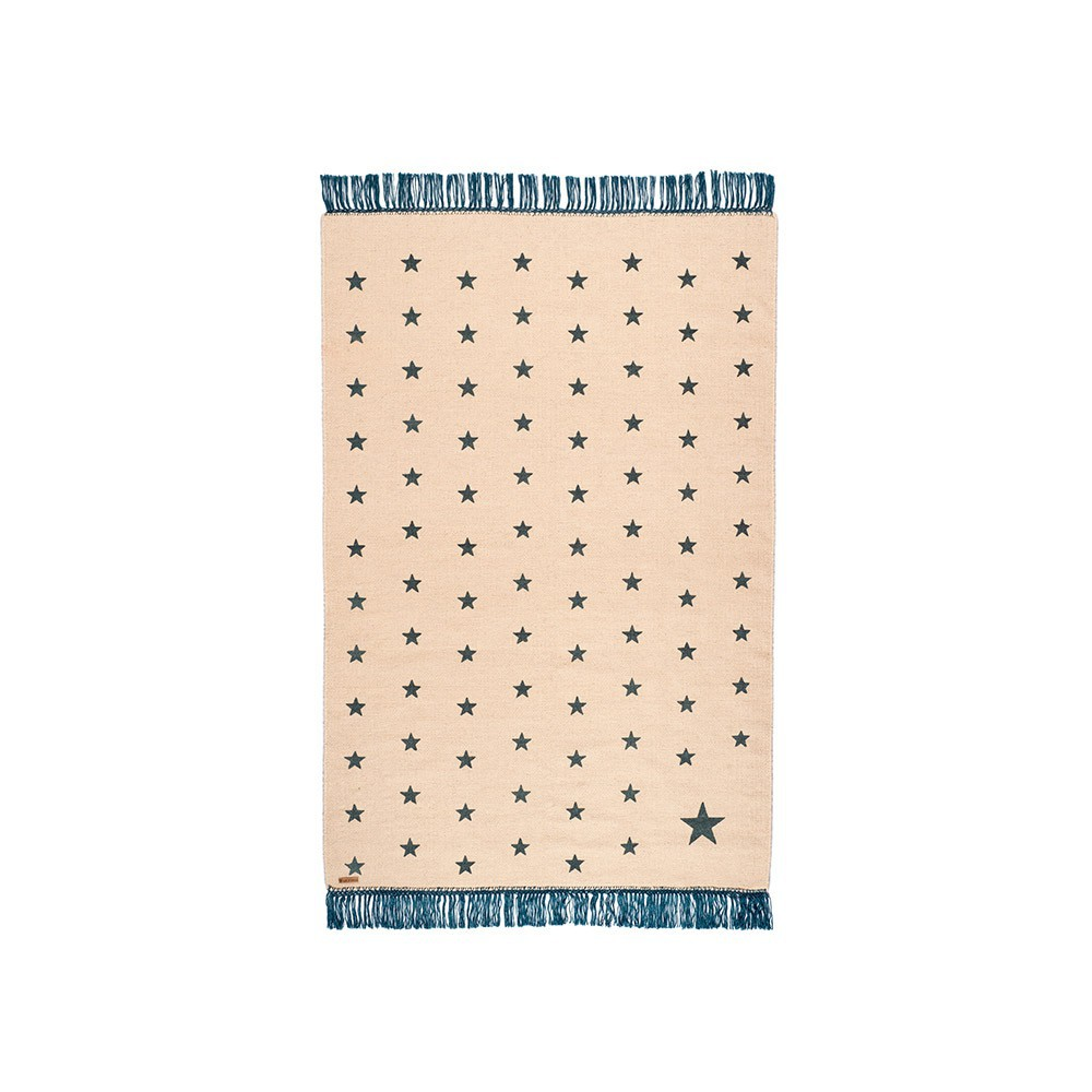 tapis en laine wild pop etoiles beige bleu canard varanassi d coration smallable. Black Bedroom Furniture Sets. Home Design Ideas