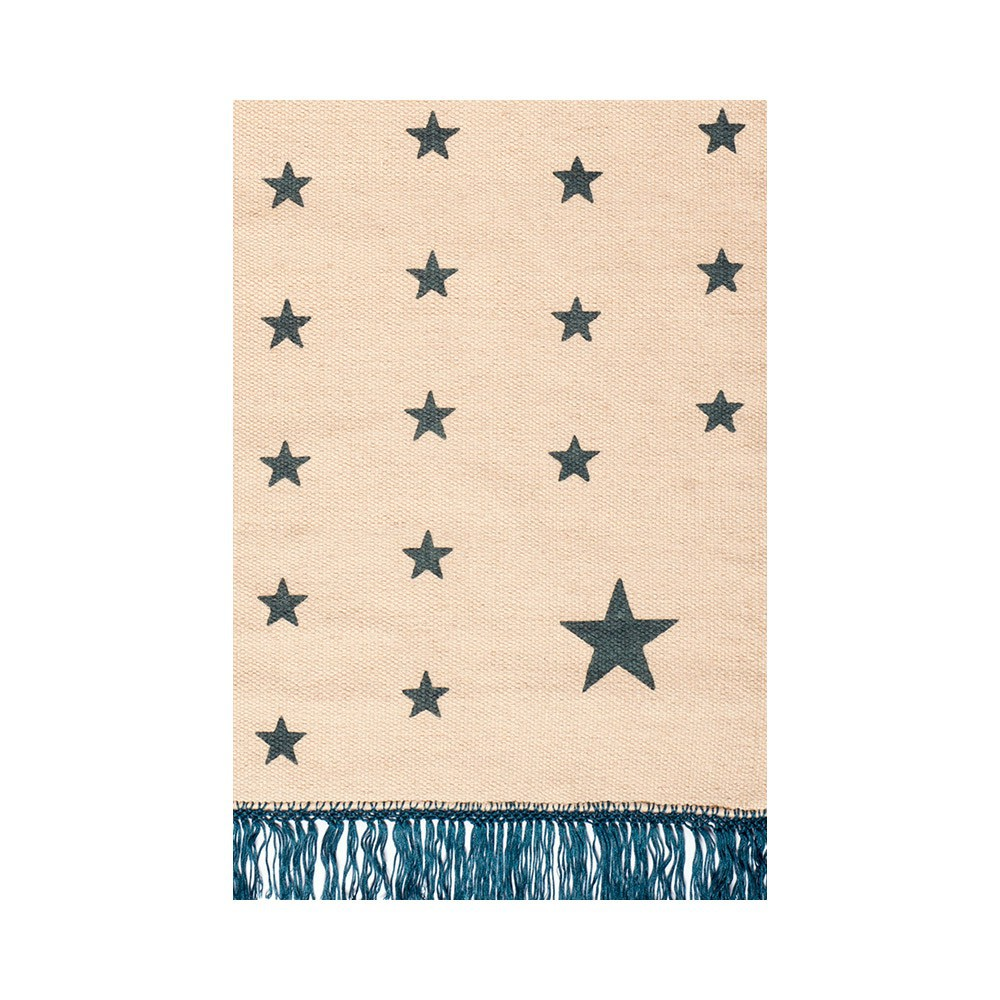 tapis en laine wild pop etoiles beige bleu canard varanassi d coration smallable. Black Bedroom Furniture Sets. Home Design Ideas