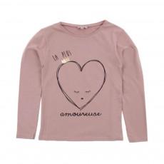 T-shirt Cœur Amoureuse Vieux Rose