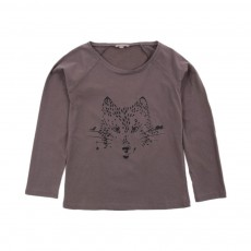 T-shirt Loup Marron