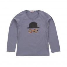 T-shirt Col V Arlequin Bleu gris