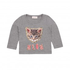 T-shirt Chat Meow Gris chiné