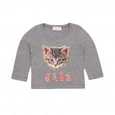 T-shirt Chat Meow Gris chiné