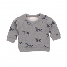 Sweat Chevaux Gris chiné