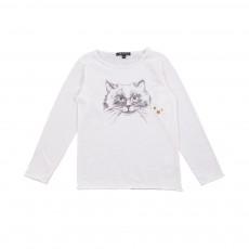 T-shirt Chat Blanc cassé