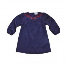 Robe Brodée Marie Lou  Bleu marine