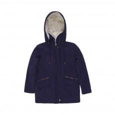 Manteau Capuche Fourée Bleu marine