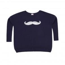 Pull Moustachy Bleu marine
