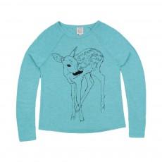 T-shirt Faon Moustache Bleu turquoise