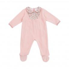 Pyjama Bi-matière Fleurs Rose