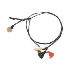 Bracelet Tressé Feuille Pompon Noir