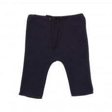 Pantalon Maille Lien Bleu marine