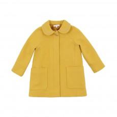 Manteau Drap de Laine Zippé Jaune moutarde