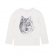 T-shirt Imprimé Loup Ecru