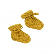 Chaussons Tricot Main Ocre