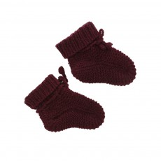 Chaussons Tricot Main Prune